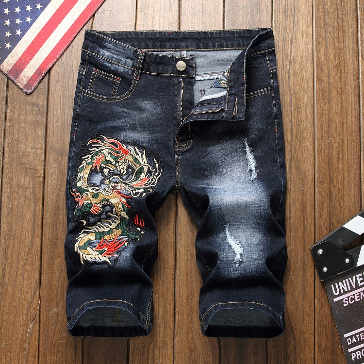Tootless Men Straight Leg Plus Size Capri Pant Embroidery Casual Jeans Clothing Jeans