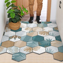 PVC Hexagon Doormat Bedroom Bathroom Living Room Hallway Entrance Doormat Carpet Remove Mud Non-Slip Can Be Cut Home Mats Carpet