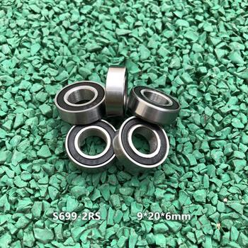 50pcs/lot ABEC-3 S699-2RS 9x20x6mm S699RS miniature stainless steel deep groove ball bearings 9*20*6 mm