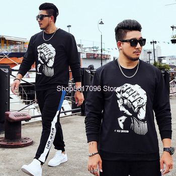 Big Size Sweater Suit Male Autumn Plus Fat Plus Fat Male Leisure Pullover Sports Super Fat Zi Loose Two-piece Set