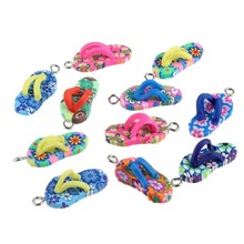 10pc bag Jewelry Making DIY Soft Clay Slippers Shape Jewelry Pendant DIY Bracelet Necklace Jewelry Accessories Charm cheap None shoe ZZ00425020 ceramic TRENDY Color Mixing