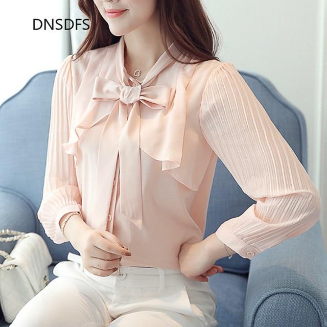 Elegant New Korean Chiffon White Shirt Summer Bow Tie Collar Ruffle Slim Office Blouse Women Casual Top Work Ropa Para Mujeres 1