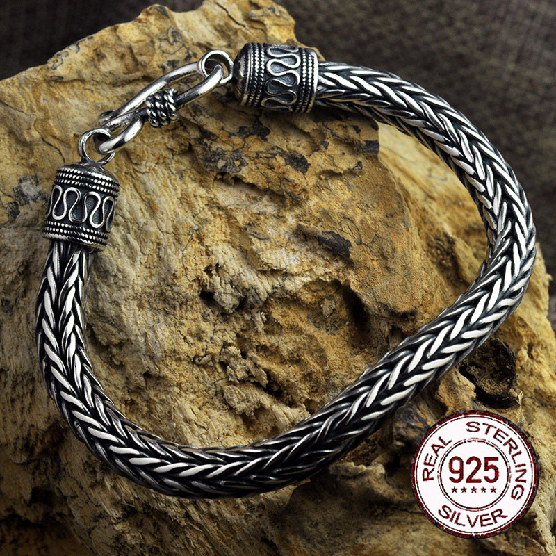 S925 Metal Making Antique Sterling Silver Vikings Bracelet as men gift with wood box