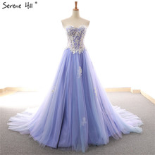 New Off Shoulder Sexy A Line Evening Dresses 2020 Appliques Beading Sleeveless Fashion Formal Evening Gowns Serene Hill 66615