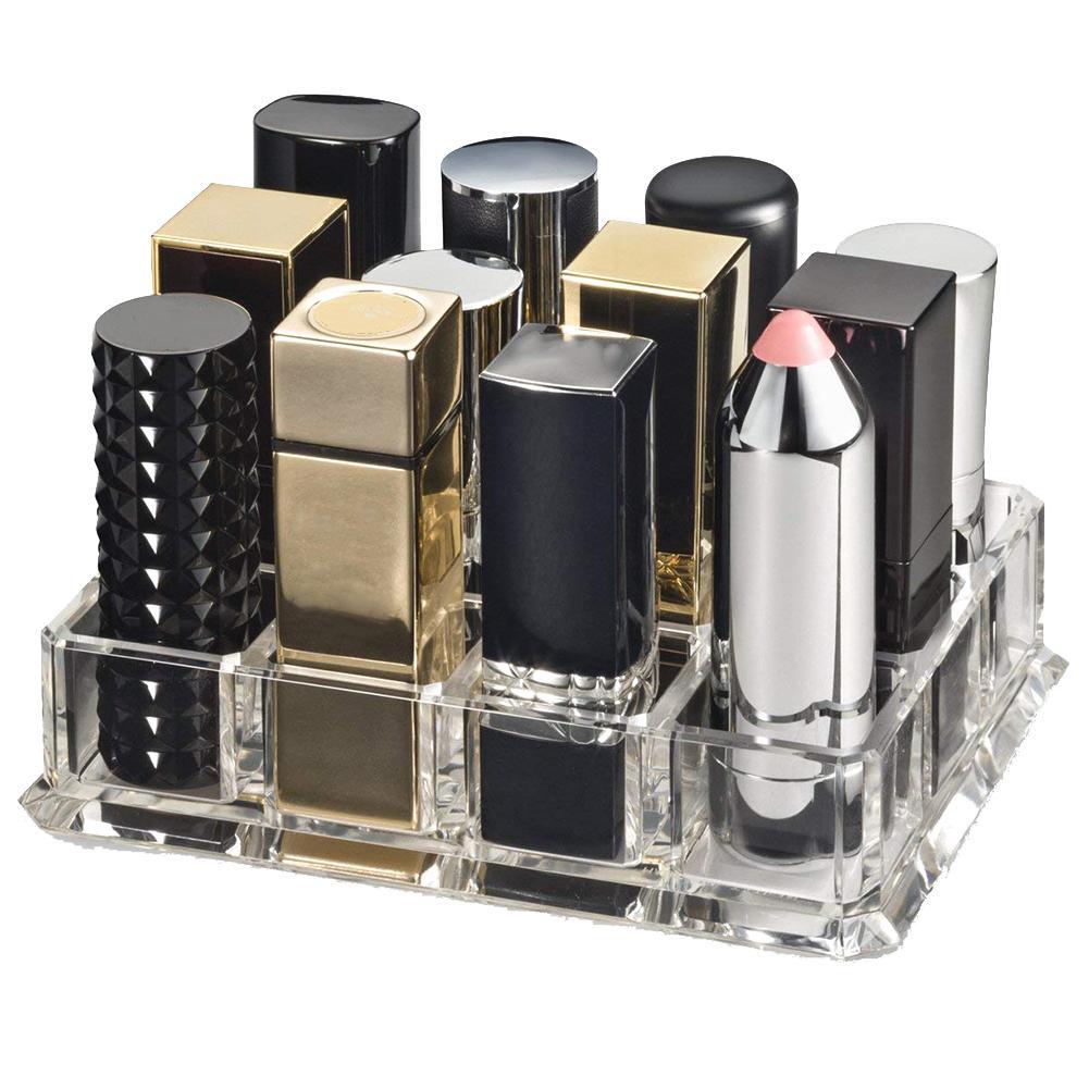 Hot 1Pc Clear Acrylic Lipstick Organizer 12 Space Makeup Cosmetics Storage Box Case