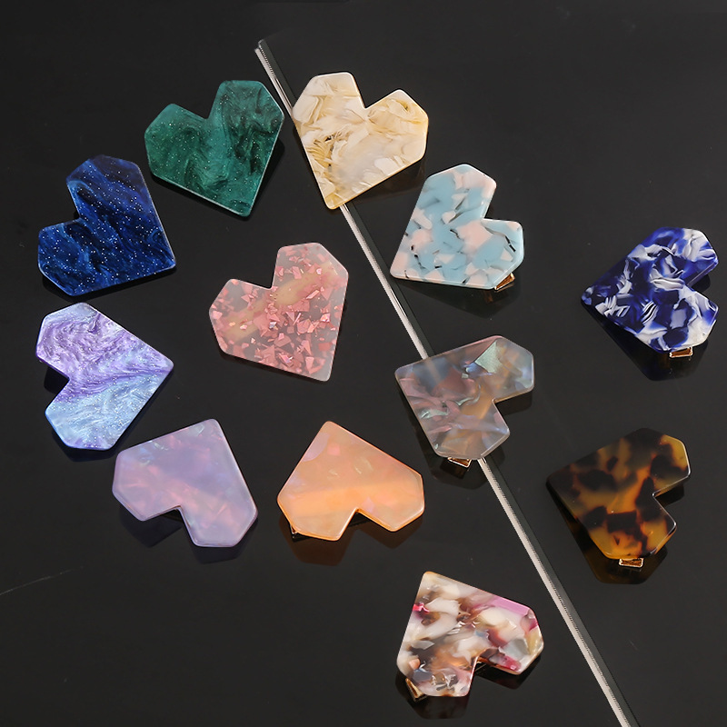 2pcs/lot Lovely For Girls Hairpin Acetic Acid Plate Haircilps Jelly Candy Color  Acrylic Hollow Geometric Rectangle Barrette