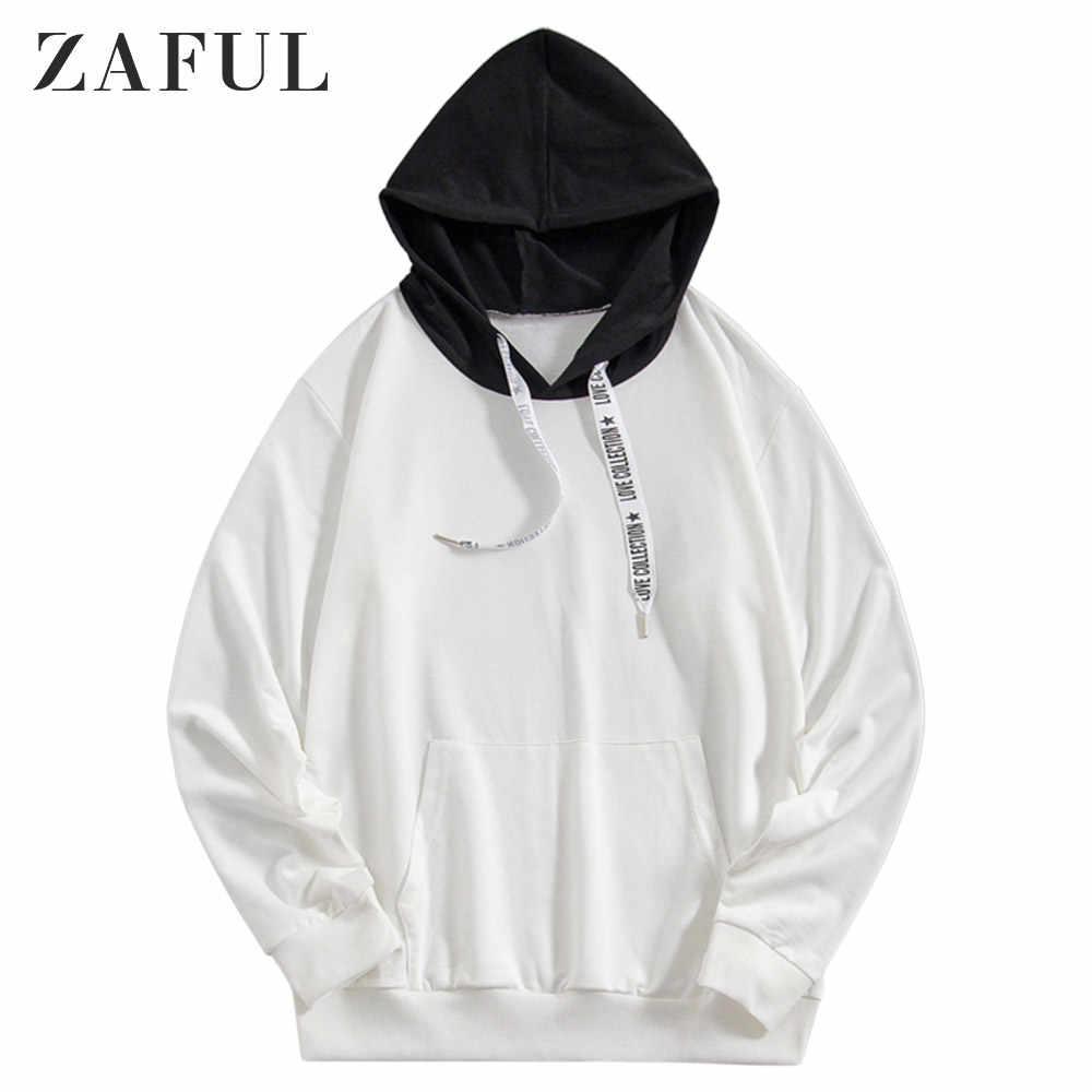 ZAFUL 캥거루 포켓 편지 인쇄 Drawstring 까마귀 컬러 Spliced 긴 소매 풀오버 겨울 가을 남성 따뜻한 스웨터 2019