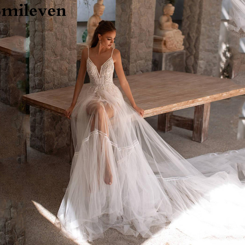 Smileven Beach Wedding Dress V Neck Sexy Spaghetti Strap Bridal Gowns Vestido De Noiva V Neck Boho Wedding Gowns