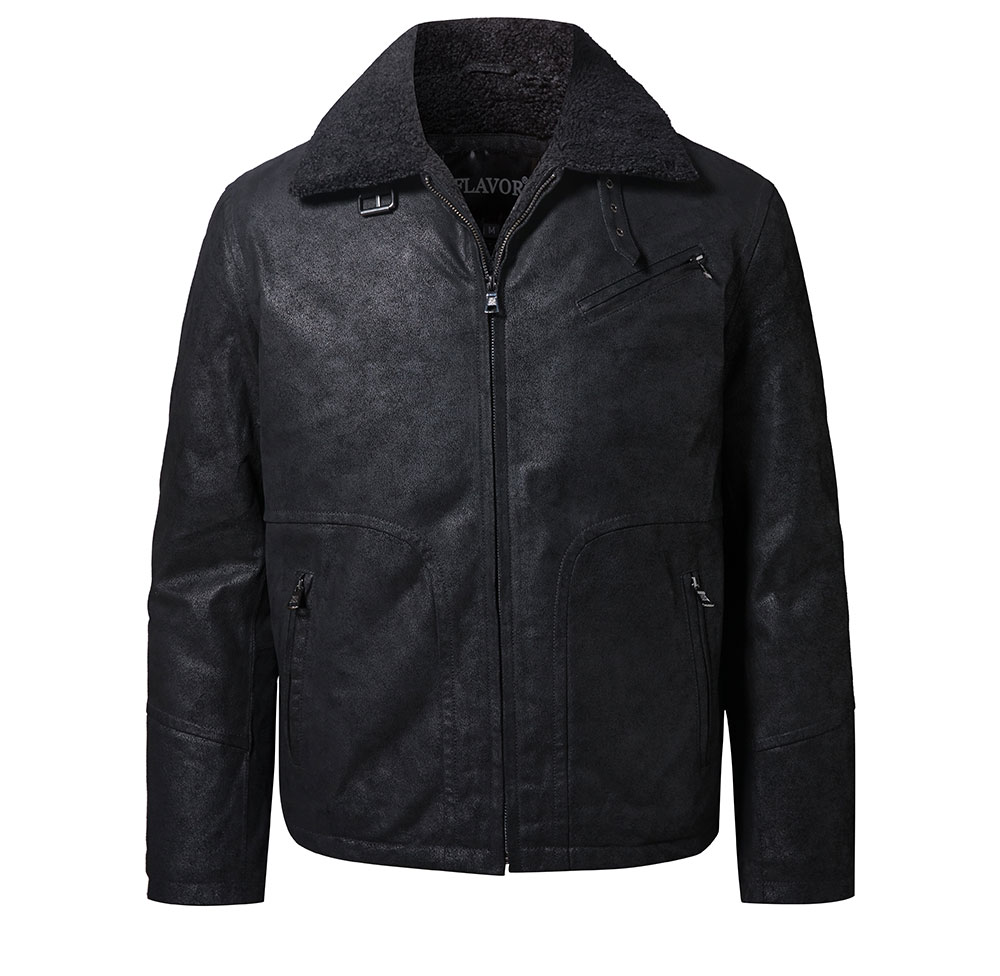 Hc5bb9f83aa414bfa817a8a3043d05796F FLAVOR New Men's Genuine Leather Motorcycle Jacket Pigskin with Faux Shearling Real Leather Jacket Bomber Coat Men