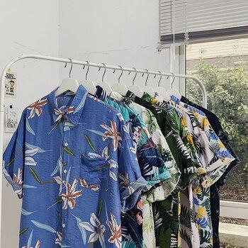 2020 Fashion Korean Plus Size Clothing Holiday Hawaiian Beach Shirt for Mens Button Up Shirt Casual Floral Printed Streetwear spot water drop printed plus size shirt
