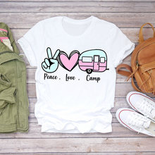 Women T-shirts Love Happy Camper Fashion Short Sleeve Summer Autumn 90s Print Lady Womens Stylish T Top Shirt Girl Tee T-Shirt