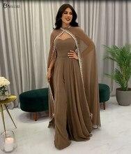 Robe De soirée forme trapèze, tenue De soirée moderne, haute Couture, en mousseline, perlée, arabe, dubaï, 2021