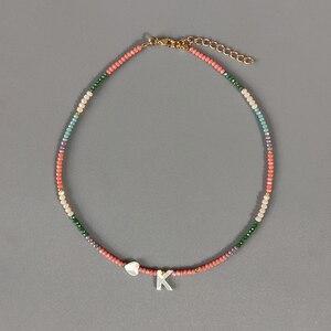 В богемном стиле цветные Хрустальные шарики ожерелье Мода Custom письмо ожерелье, персонализированные украшения для друзей 2020 Новый bijoux femme (украшения своими руками)