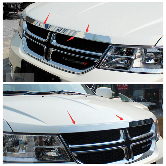 Yimaautotrims Exterior Stainless Steel For Dodge Journey JCUV Fiat Freemont 2012 - 2019 Front Hood Grille Gill Engine Cover Trim 5