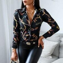 Chemise Slim à manches longues pour femmes, tendance de la mode, col en v, couleur contrastée, haut taille haute, moulant, imprimé, vêtements de printemps et d'automne, 2020