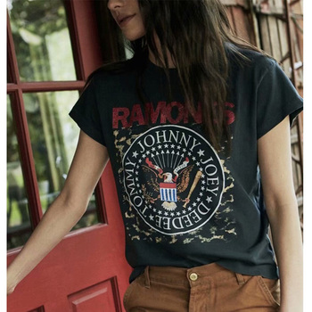 Boho Wash Letter Printed T Shirt Women Vintage Casual O Neck Short Sleeve Pullover Tops Hippie Chic Loose Tee Gypsy Black Tshirt