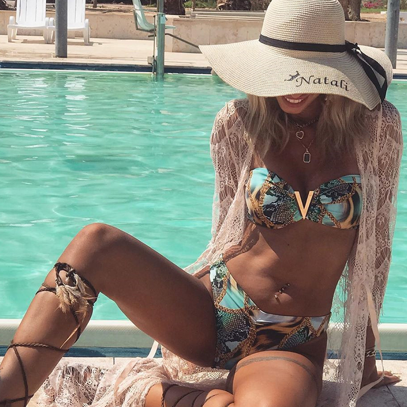 In-X Sexy Snake Print Swimsuit Female V Neck Swimwear Women Bandeau Bikini Set Brazilian Swimsuit Bathing Suit Summer Bathers