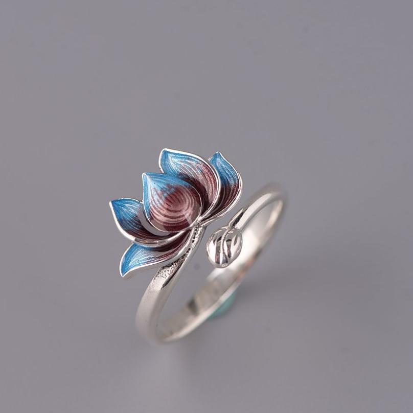 Cloisonne lotus flower ring s925 sterling silver green jade open ring