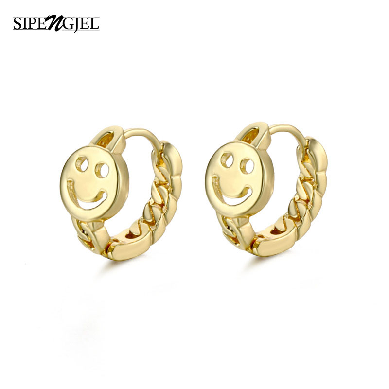 Fashion cute Smile Face Hoop Earrings Gold Sliver Color Geometric vintage Earing for women Girl Jewelry 2020 trend