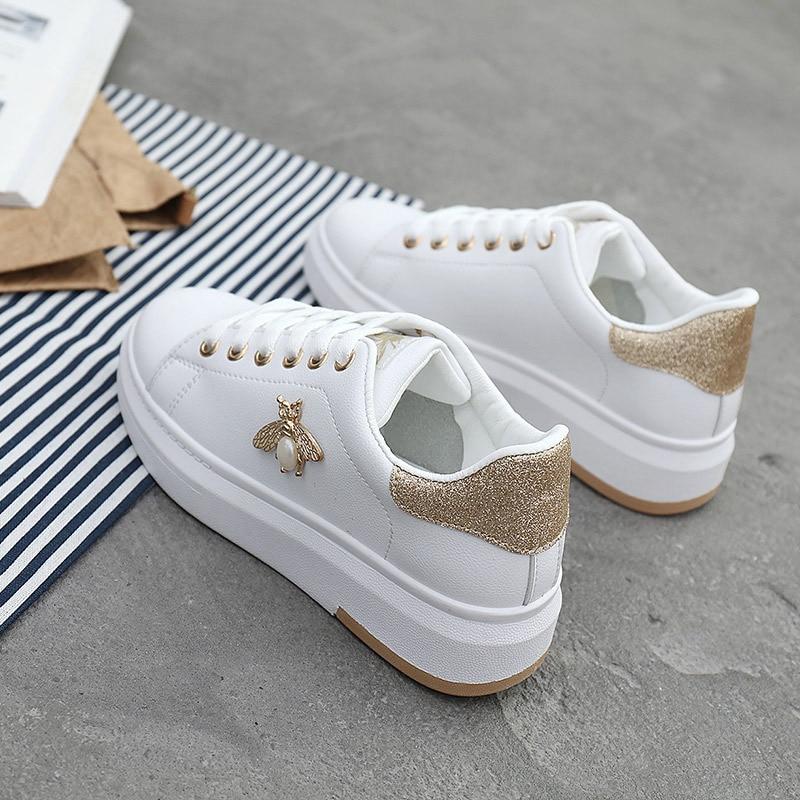 Casual Shoes Women Sneakers Fashion Breathable PU Leather Platform White Women Shoes Soft Footwears Rhinestone Tenis Feminino