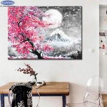 Kits de pintura de diamantes quadrados/redondos, faça você mesmo, kits de ponto cruz, fuji mountain sakura, paisagem de árvore, diamante bordado, mosaico de diamante