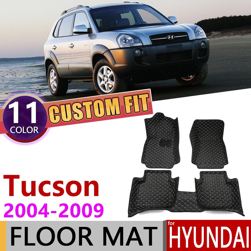 Custom Car Leather Floor Mats For Hyundai Tucson JM 2004~2009 5Seats Waterprool Foot Pad Carpet Accessories 2005 2006 2007 2008