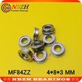 MF84ZZ фланцевый подшипник 4x8x3 мм ABEC-5 миниатюрные фланцевые MF84 Z zz, шариковые подшипники 4*8*9,2*3*0,6 мм - фото