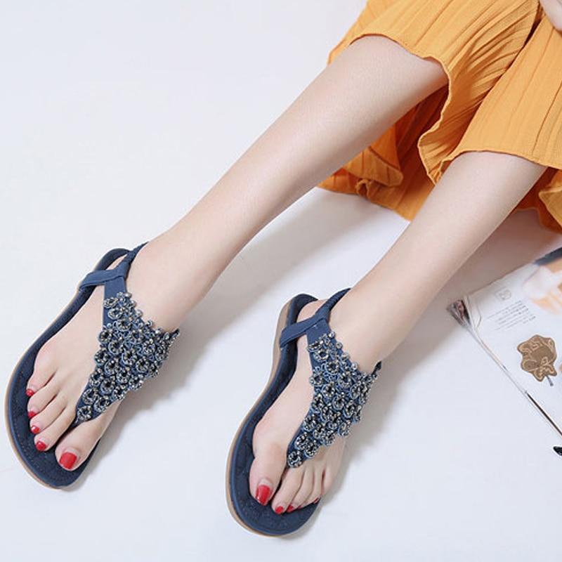 Third Fresh Womens Sandals Summer Flat Rhinestone Slippers Fashion Beach Shoes Casual Comfort flip Flops,Apricot
