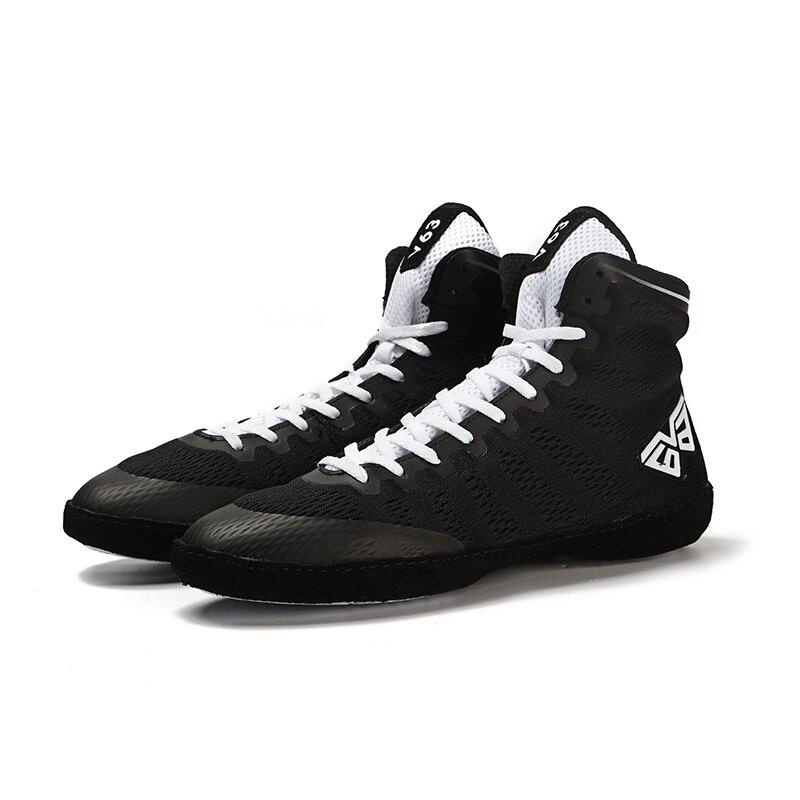 Sola de Borracha Tênis de Combate de Treinamento de Combate Profissional Boxe Wrestling Sapatos Respirável Branco Preto