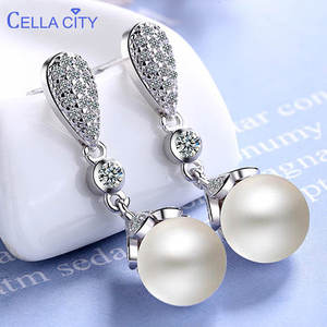 Drop-Earrings Silver Jewelry Wedding-Party-Gift Round-Shape Cellacity Woman Classic Pearl