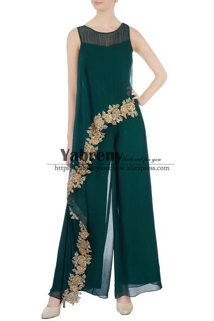 Mother Of The Bride Pantsuits Dresses Green Chiffon Jumpsuit