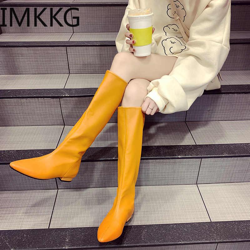 Mũi Nhọn Đầu Gối Cao Giày Nữ Martin Đi Boot Nữ Chun Gót Dài Chelsea Botas Mujer 2019
