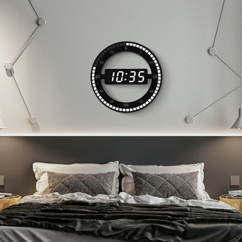 New LED Digital Wall Clock Modern Design Dual-Use Dimming Digital Circular Photoreceptive Clocks For Home Decoration Gift