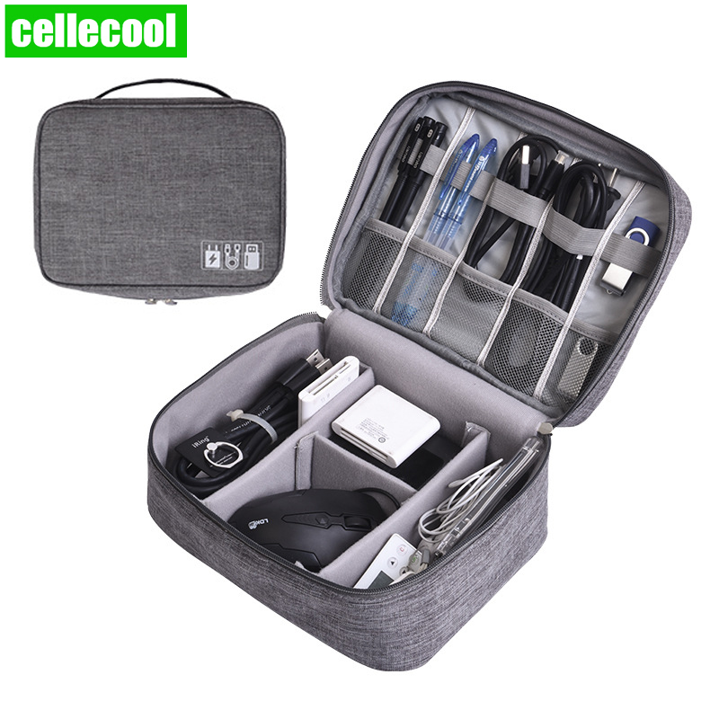 Home Office Waterproof USB Data Line Storage Charger Organizer Portable Mobile PC Bag Car Business Travel Gear Digital Products