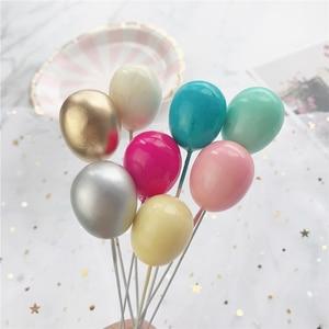 Image 4 - 6Pcs Oro Argento Colore del Palloncino Collection Cake Topper per la Decorazione Del Partito Dessert Bella Regali di Compleanno Torta Nuziale Bandiere