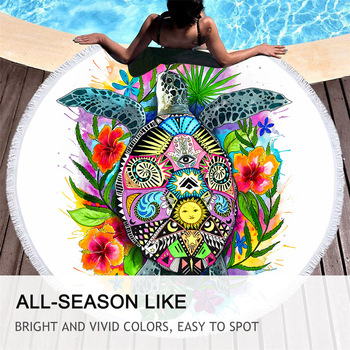Turtle Life by Pixie Cold Art Large Round Beach Towel Tortoise Microfiber Summer Blanket With Tassel Toalla Bohemian Beach Mat 4
