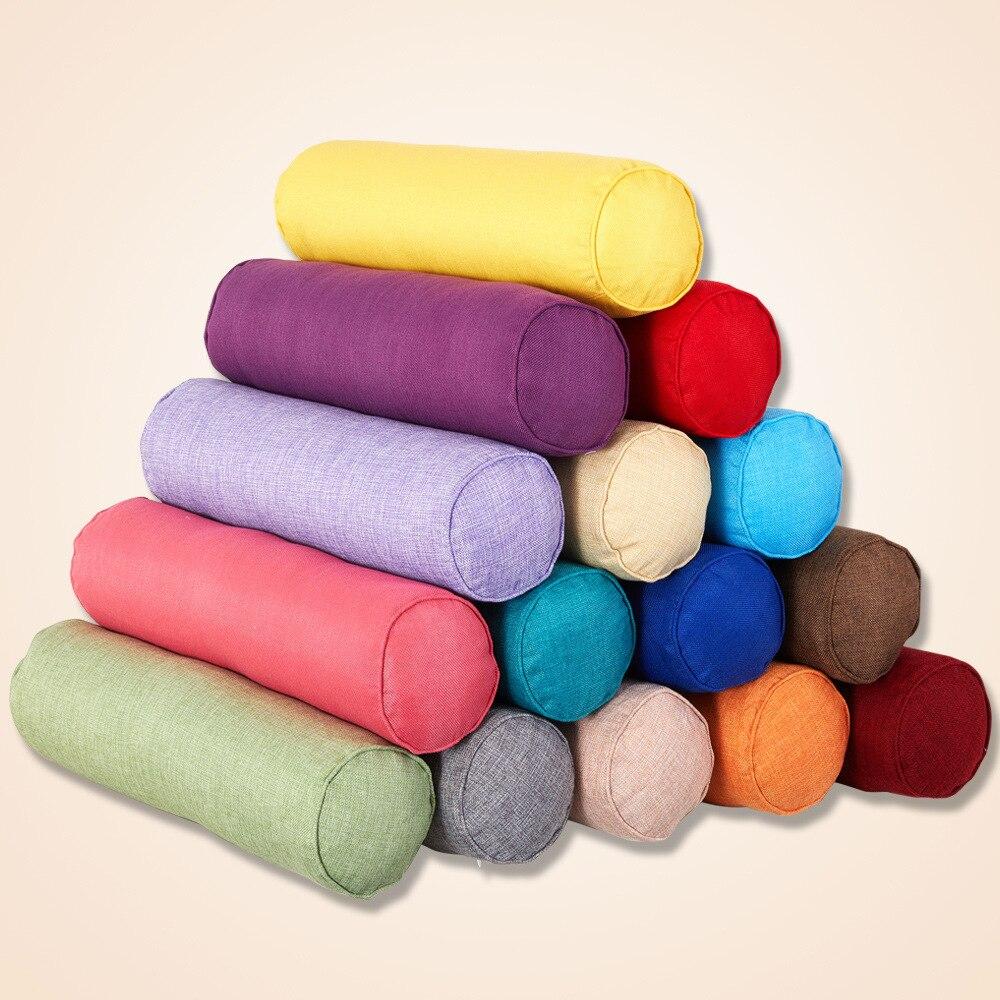 Cor sólida redonda removível lavável madeira almofada travesseiro cama rolo almofada cabeça perna volta suporte luz coluna de viagem travesseiro