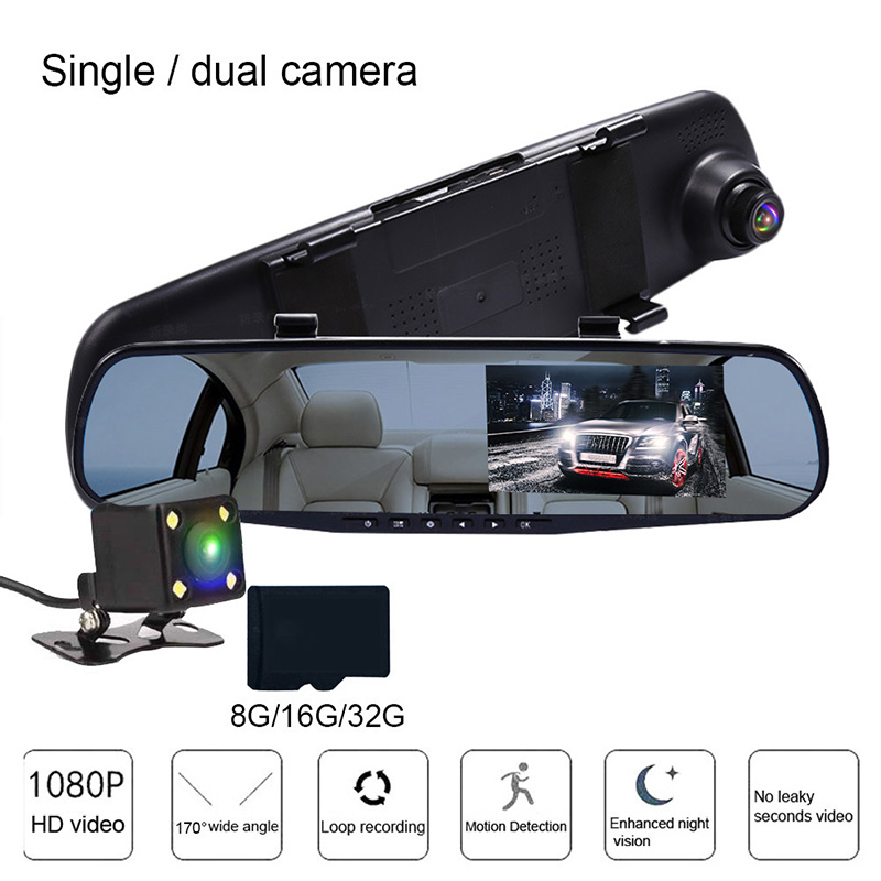 TOSPRA Car DVR Camera Recorder Dual Lens Cam Mirror Rear View Car Camera Full HD 1080P