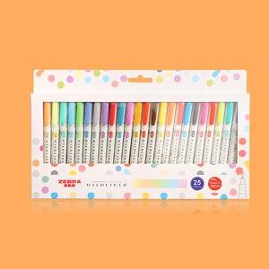 Image 1 - 3 stücke oder 5 stücke/set zebra mildliner farbe Japanischen briefpapier doppel headed fluoreszierende stift haken stift farbe Mark stift kawaii