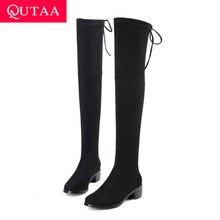 Qutaa 2020 mulheres botas de inverno moda todos os jogos tecido elástico sobre o joelho sapatos altos quadrado salto médio botas femininas tamanho 34 43