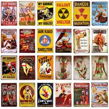 Metal Sign Plaque Pin Up Girl Metal Tin Signs Art Posters Retro Vintage Accessory Wall Garage Pub Bar Home Wall Decor Plaques vintage car tin signs bar pub home wall decor retro metal art poster metal plate plaques vintage retro bar sign garage rule sign