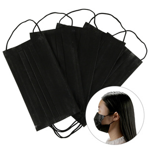 Image 1 - 10/20/50/100Pcs Mouth Mask Disposable Black Cotton Mouth Face Mask Mask Non woven Mask Earloop Activated