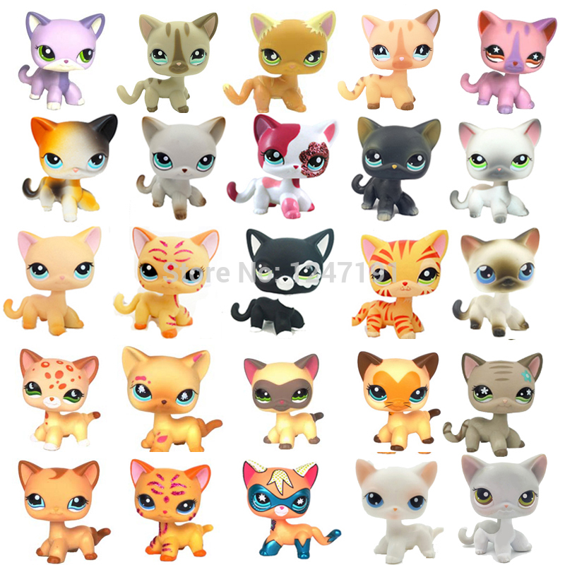 Rare Pet Shop Cute Toys Cat Mini Short Hair Standing Grey #5 #391 Black #336 Old Original Anime Figure Toys For Children