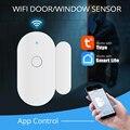 Смарт-детекторы открытой/закрытой двери Tuya, Wi-Fi, уведомление, оповещение, охранная сигнализация