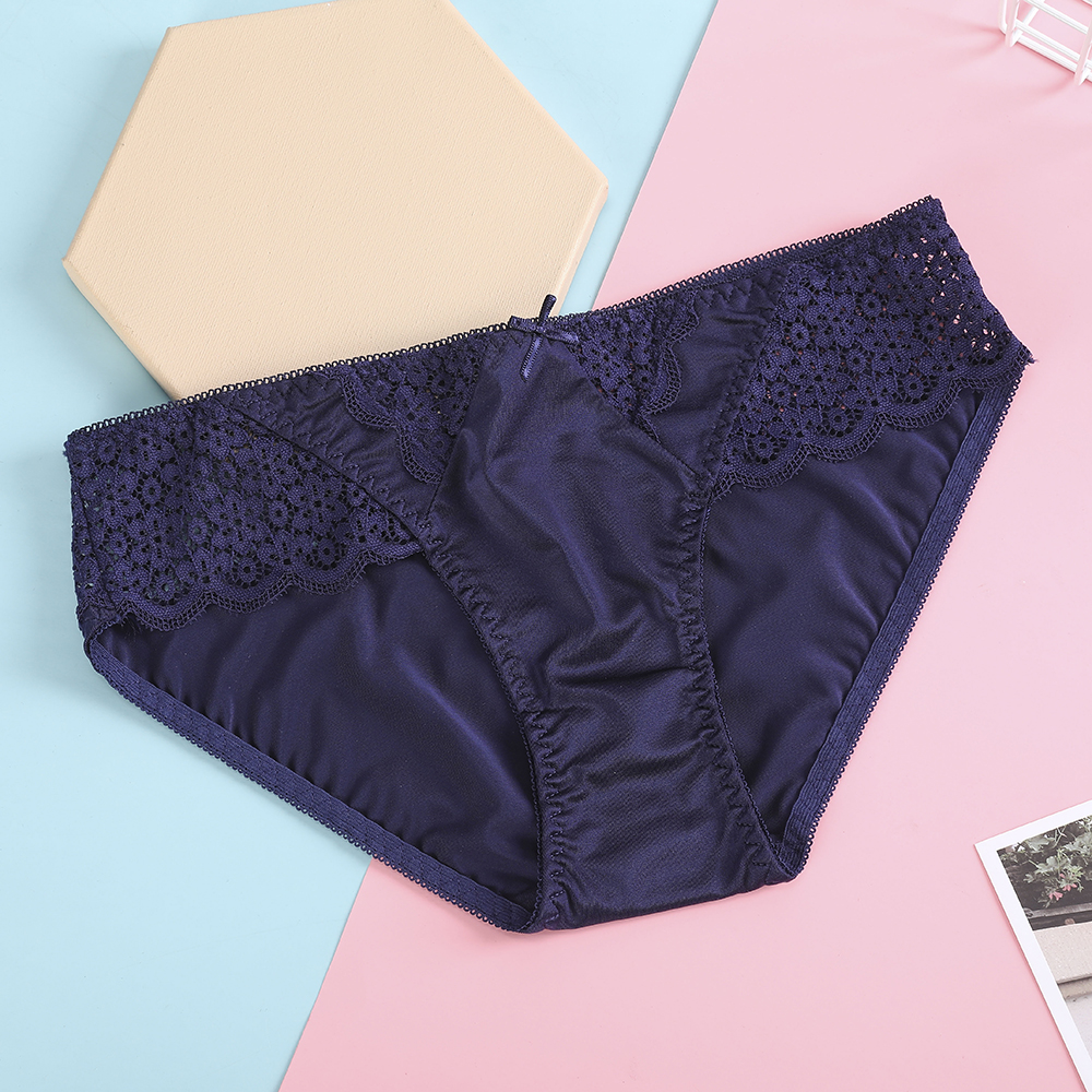 Bionek Solid Laciness Briefs For Women Breathable Cotton Women's Underwear Panties Intimates Lingerie Female Sexy Knickers