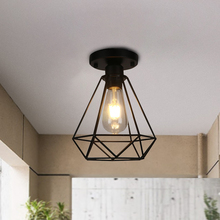 Moderno restaurante lámpara de techo de hierro LED pantalla iluminación nórdica jaula lámpara familia sala de estar decoración lámpara sin bombilla