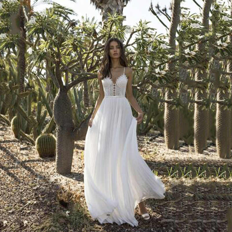 Beach Wedding Gown 2020 Sexy Spaghetti V Neck Backless Chiffon Bridal Gowns White Boho Lace Wedding Dress Vestido De Casamento