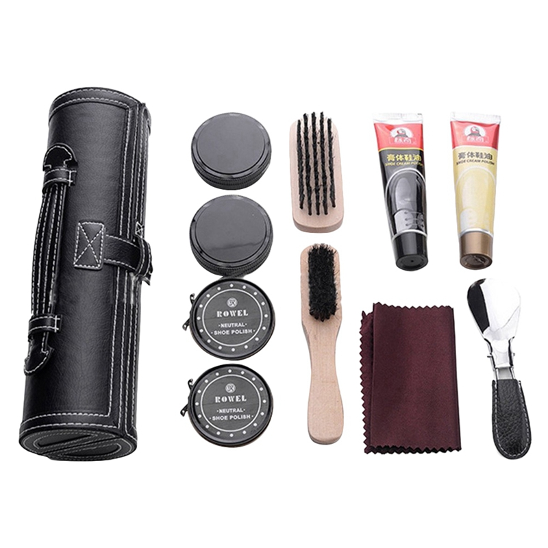 Shoes Polish Set Fashion Shoe Shine Care Kit With Leather Compact Case Portable Travel Home Neutral For Men Gifts