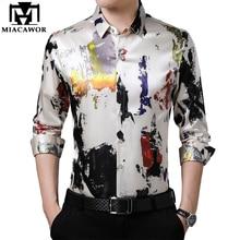 MIACAWOR Brand Casual Shirt Men Slim Fit Long