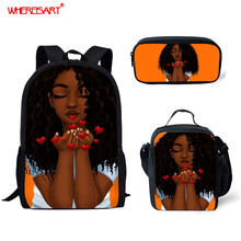 WHEREISART Black Girls Teenagers Cute School Bags Arts Design Big Capacity Student Bags Middle School Backpack for Teen Children cheap Polyester zipper 300g 44inch cartoon CGK custom unisex 13cm 28cm As The Picture Show 3D Image Pattern Schoolbag For Children